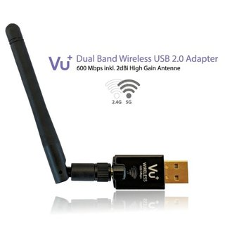 VU+ Dual Band Wireless USB 2.0 Adapter 600 Mbps inkl. Antenne